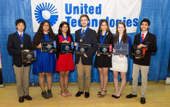 2106 Connecticut Science & Engineering Fair Top Winners: l-t-r: William Yin, Maya Geradi, Aakshi Agarwal, Christopher Popham, Martha Haddad, Sophie Edelstein, Sanju Sathish